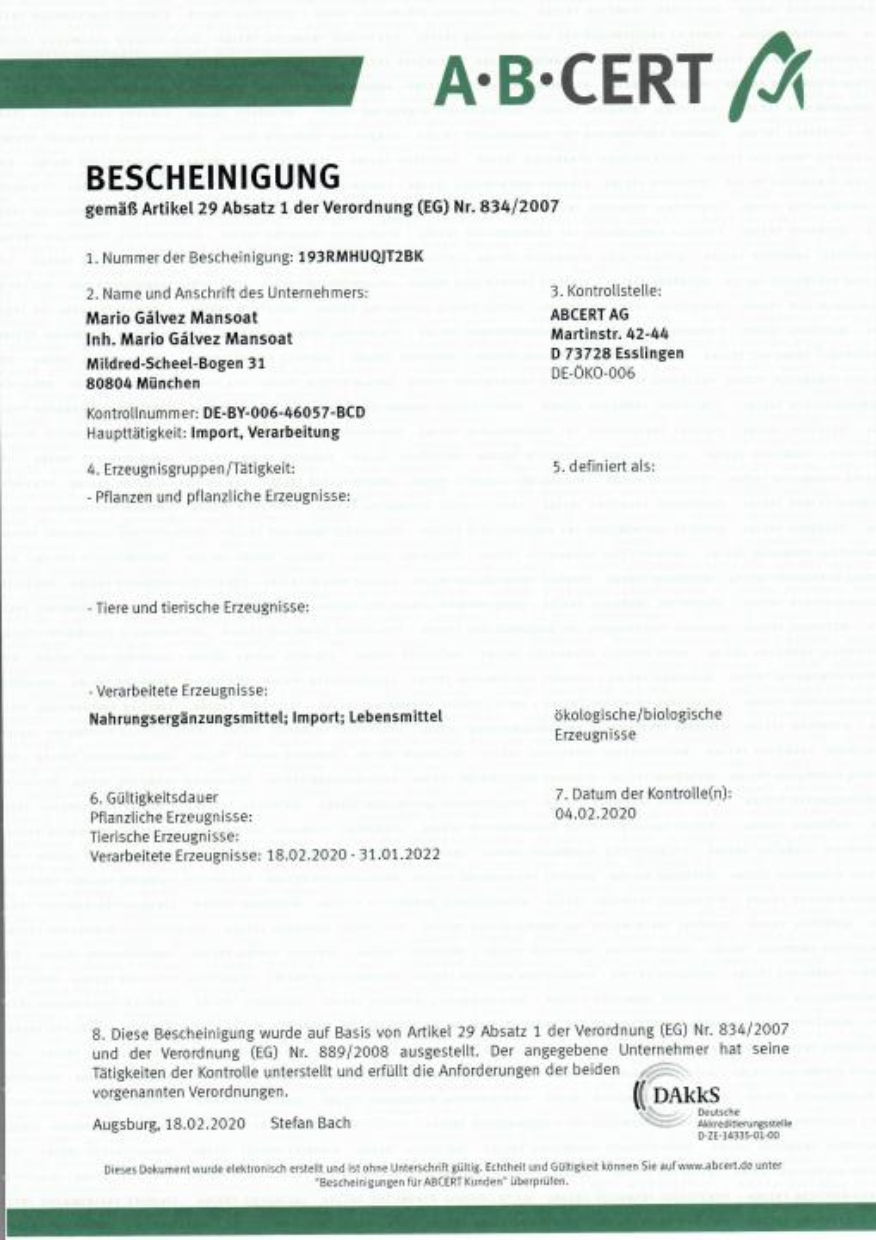 BIO Zertifikat von Maca